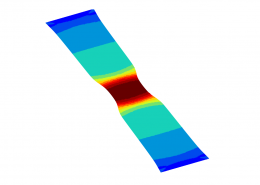 Polymer Film Forming - Finite Element Analysis Contour Plot. deformation and stress immediately after necking.