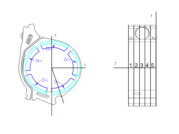 drawing of  specimen locations in an oil pump housing