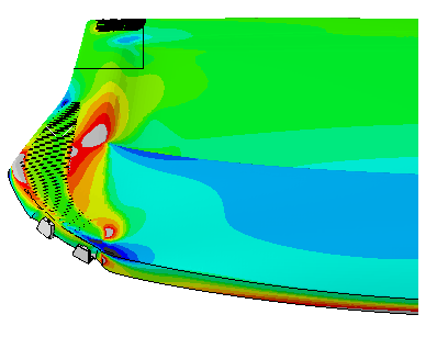 Finite Element Analysis Stress Contour Plot of an Automobile Hat Rack