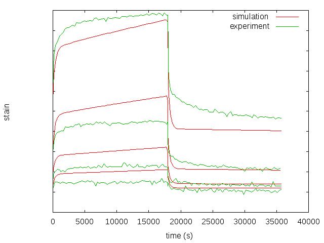 Kurz Karbonfaser verstärktes PEEK: Dehnungs-Zeit Verlauf während eines Kriech/Retardations Versuchs auf mehreren Spannungsniveaus.