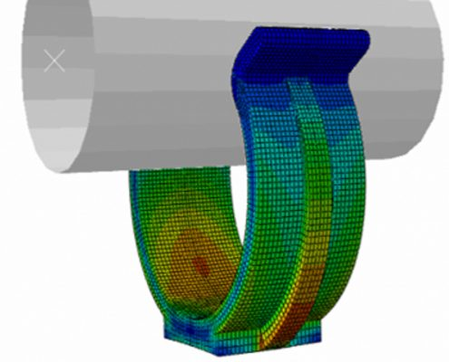 FEA contour plot of stress on a plastic clip fastener