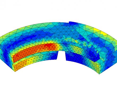 FEA contour plot of von Mises stresses after wear of a sealing